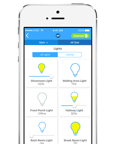 Turn lights on and off remotely, automate your lights and make your empty office appear busy and more with ADT Pulse
