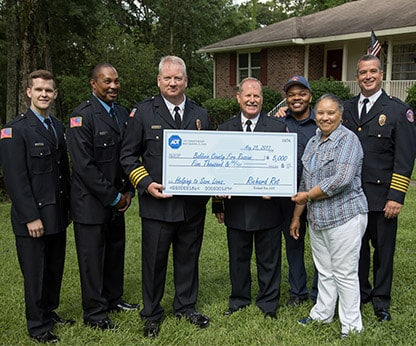 A $5000 check was presented to the Baldwin County Fire Rescue