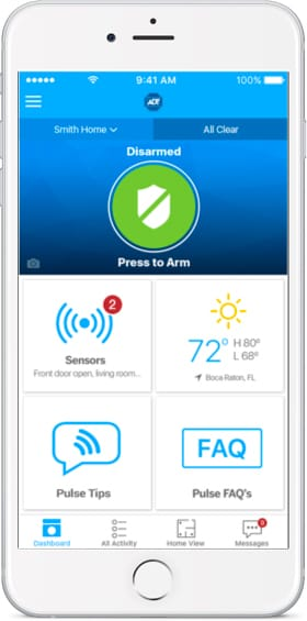 ADT Pulse app remote arm and disarm functionality