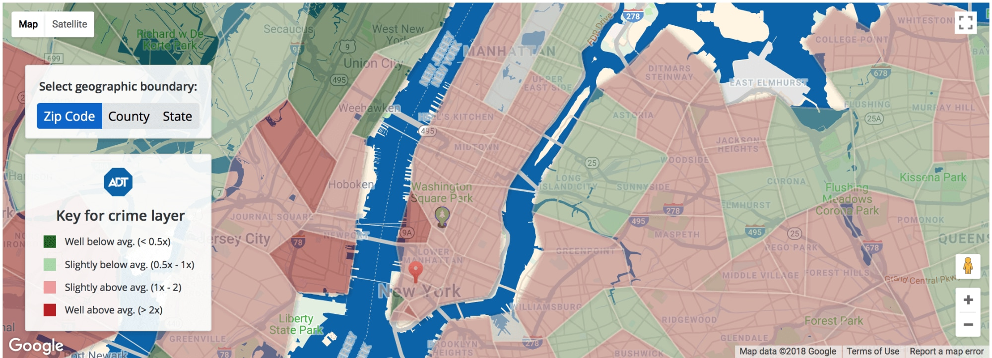 Interactive Map Of New York City.Interactive Crime Maps Adt Security