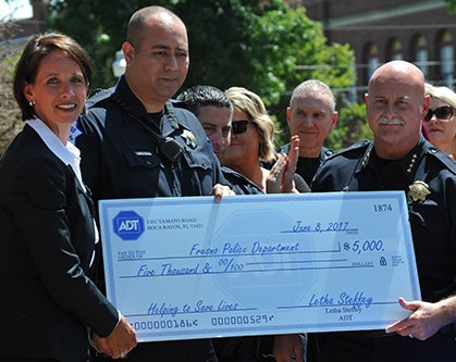 ADT donated $5,000 to both the Marjaree Mason Center and Fresno Police.