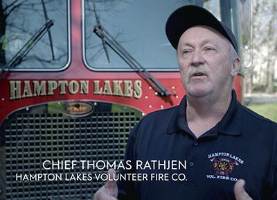 Chief Thomas Rathjen of the Hampton Lakes Volunteer Fire Co.