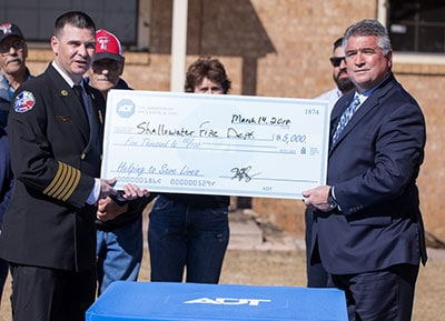 The Shallowater Volunteer Fire Department is presented with $5,000,