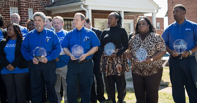 ADT employees are presented with Lifesaver Awards