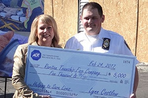 A $5,000 check from ADT was presented to the Raritan Township Fire Co. during the LifeSaver event.