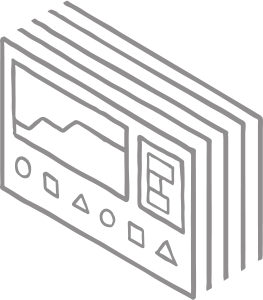 Drawing of an array of computer interface dashboards