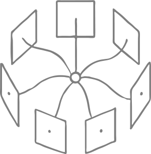 Drawing of ring of squares connected to a central hub