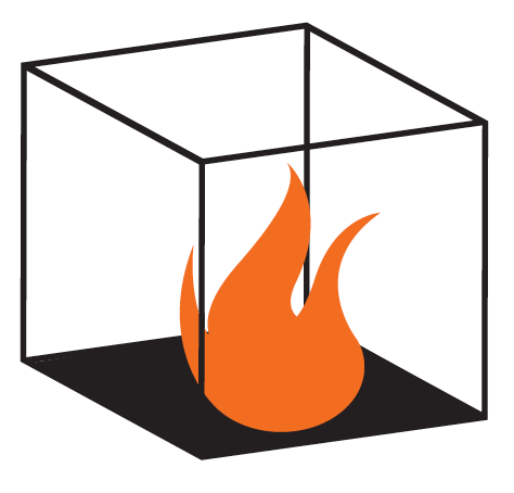 Graphic of flames contained in a box