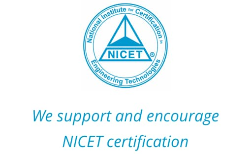 NICET Certified logo - We support and encourage NICET certification